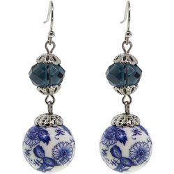 1928 Jewelry Round Blue Willow Beaded Double Drop Earrings