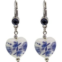 1928 Jewelry Blue Willow Heart Drop Earrings