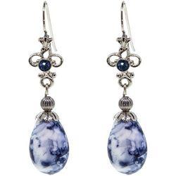 1928 Jewelry Blue Willow Oval Drop Earrings