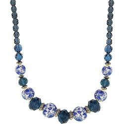 1928 Jewelry Dark Blue Willow Beaded Necklace