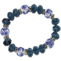 1928 Jewelry Dark Blue Willow Beaded Stretch Bracelet