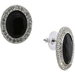 1928 Jewelry Black Facet & Rhinestone Stud Earring
