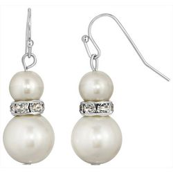 1928 Jewelry Pearl & Crystal Rhondell Earrings