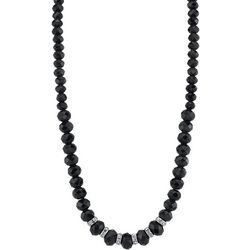 1928 Jewelry Black Facet Bead & Rhondell Necklace