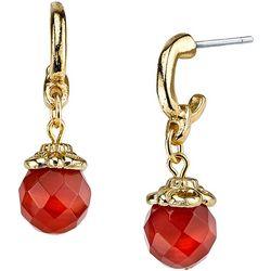 1928 Jewelry Carnelian Facet Drop Post Earrings