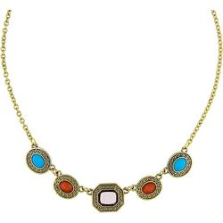 1928 Jewelry Multi Stone Frontal Necklace