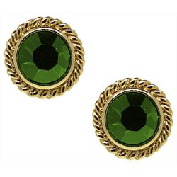 1928 Jewelry Green Crystal Button Stud Earrings