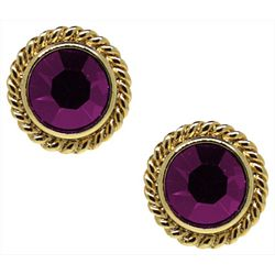 1928 Jewelry Purple & Gold Tone Button Earrings