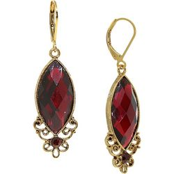 1928 Jewelry Red Facet Cabochon Drop Earrings