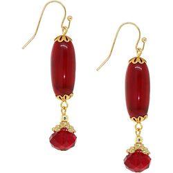 1928 Jewelry Double Red Bead Drop Earrings