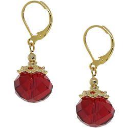 1928 Jewelry Red Bead Drop Lever Back Earrings
