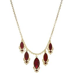 1928 Jewelry Red Frontal Marquis Drop Necklace