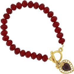 1928 Jewelry Red Bead & Heart Charm Bracelet