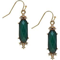 1928 Jewelry Green Facet Drop Earrings