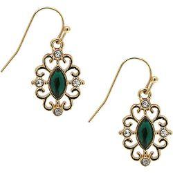 1928 Jewelry Filigree & Green Facet Drop Earrings