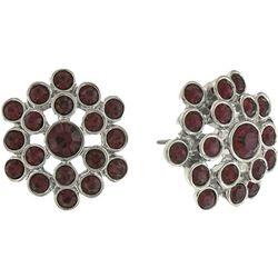 1928 Jewelry Glass Amethyst Button Earrings