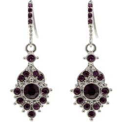 1928 Jewelry Glass Amethyst Stone Drop Earrings