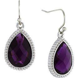 1928 Jewelry Purple Facet Teardrop Earrings