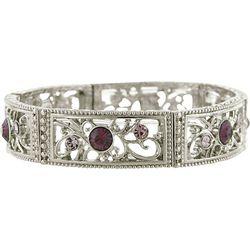1928 Jewelry Glass Stone Filigree Link Stretch Bra