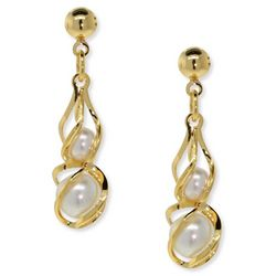 1928 Jewelry Gold Tone Faux Pearl Caged Drop Earrings
