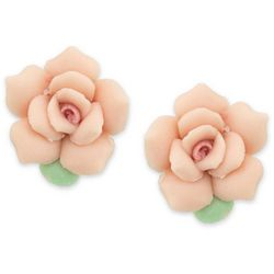 1928 Jewelry Pink Porcelain Rose Stud Earrings