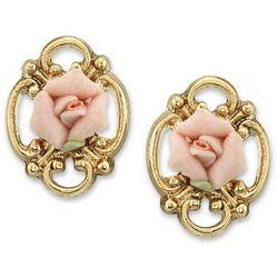 1928 Jewelry Gold Tone Open Porcelain Rose Stud Earrings