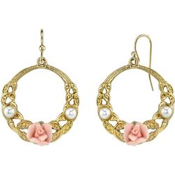 1928 Jewelry Porcelain Rose & Faux Pearl Hoop Earrings