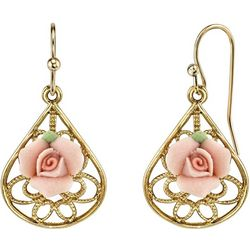 1928 Jewelry Porcelain Rose Filigree Pear Shape Earrings