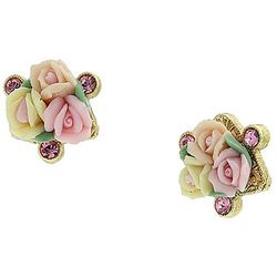1928 Jewelry Pink Crystal Elements Porcelain Rose Earrings