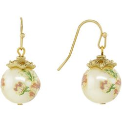 1928 Jewelry Gold Tone Floral Faux Pearl Drop Earrings