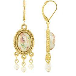 1928 Jewelry Gold Tone Oval Flower Decal Drop Earrings