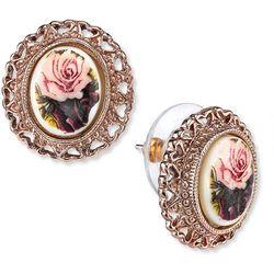 1928 Jewelry Rose Gold Tone Purple Flower Stud Earrings