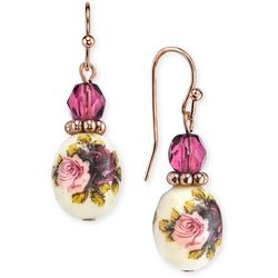 1928 Jewelry Rose Gold Tone Floral Beaded Drop Earrings