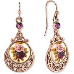 1928 Jewelry Rose Gold Tone Purple Flower Drop Earrings