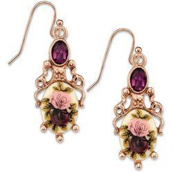 1928 Jewelry Rose Gold Tone Purple Crystal Flower Earrings