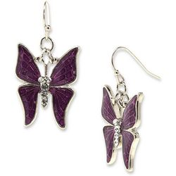 1928 Jewelry Purple & Crystal Elements Butterfly Earrings