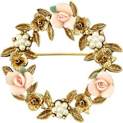 1928 Jewelry Gold Tone Pink Porcelain Rose Wreath Brooch