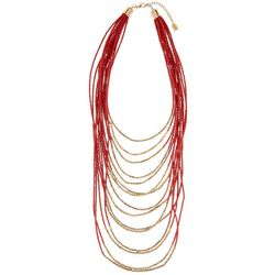 Chaps Red & Gold Tone Multi-Strand Beaded Necklace