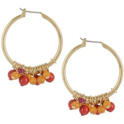Chaps Gold Tone Beaded Hoop Earrings
