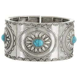Chaps Turquoise Blue Metal Cuff Stretch Bracelet