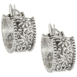 Chaps Floral Design Metal Hoop Earrings