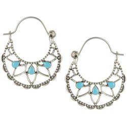 Chaps Turquoise Blue Silver Tone Hoop Earrings