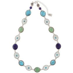 Chaps Blue & Green Silver Tone Collar Necklace