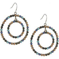 Chaps Semi-Precious Stones Double Hoop Earrings