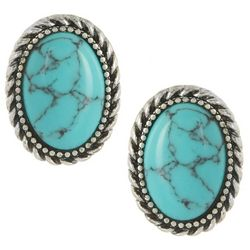 Chaps Oval Turquoise Blue Button Stud Earrings