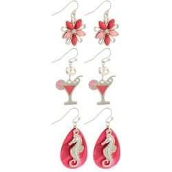 Coral Bay Pink Seahorse & Cocktail Earring Set