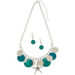 Paradise Shores Teal Green Shell & Starfish Necklace Set