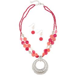 Paradise Shores Pink Shell & Bead Ring Pendant Necklace Set