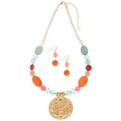 Paradise Shores Bead & Shell Gold Tone Pendant Necklace Set