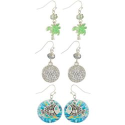 Coral Bay Coastal Fish & Palm Tree Charm Earring Set